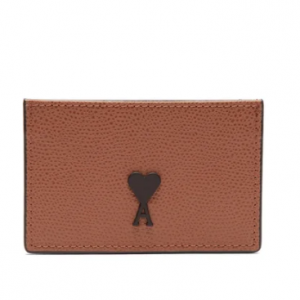AMI  Logo-patch leather cardholder