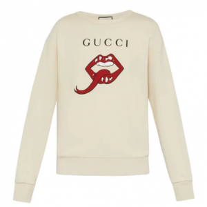 GUCCI  Lip and logo print cotton sweatshirt