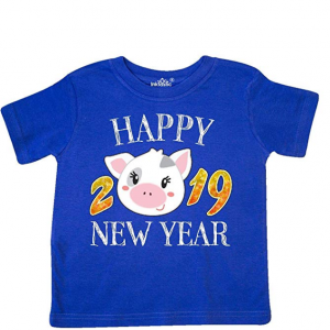 inktastic - Happy New Year 2019 Cute Pig Toddler T-Shirt 33198 from $14.99
