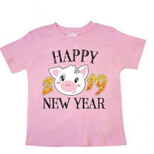 inktastic - Happy New Year 2019 Cute Pig Toddler T-Shirt from $12.99