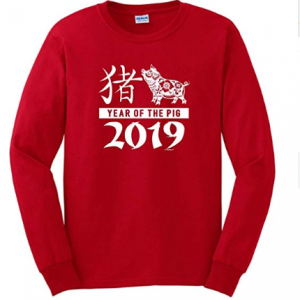 Chinese New Year Outfit 2019 Year Pig Calligraphy Long Sleeve T-Shirt from $25.99