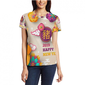 Happy Chinese New Year 2019 of The Pig Women's 3D Printed Short Sleeve T-Shirt Top Tee