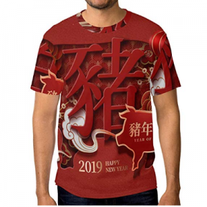Happy Chinese New Year 2019 of The Pig Men's Short Sleeve T-Shirt Top Tee from $19.99