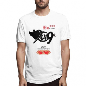 Man's Casual Super Soft Pure Color O-Neck Chinese Calendar for The Year of Pig 2019 Tshirts