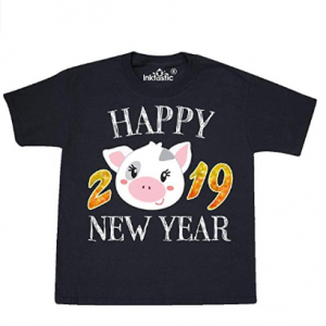 inktastic - Happy New Year 2019 Cute Pig Youth T-Shirt