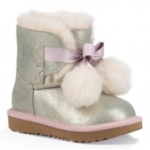 UGG Gita Metallic Genuine Shearling Pom Boot (Toddler & Little Kid)