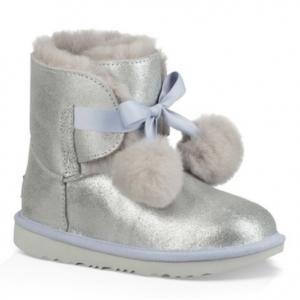 Gita Metallic Genuine Shearling Pom Boot (Walker, Toddler, Little Kid & Big Kid)