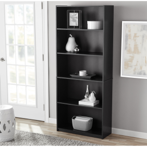 "$27.44 Mainstays 71"" 5-Shelf Standard Bookcase, Black Oak, 5 colors @ Walmart"
