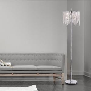 Marya 3-Light Round Shade Crystal Chandelier Chrome Floor Lamp Fixture