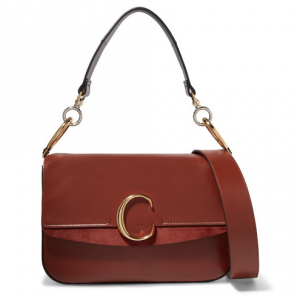 CHLOÉ Chloé C medium suede-trimmed leather shoulder bag
