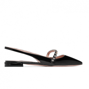MIU MIU Crystal-embellished patent-leather slingback flats