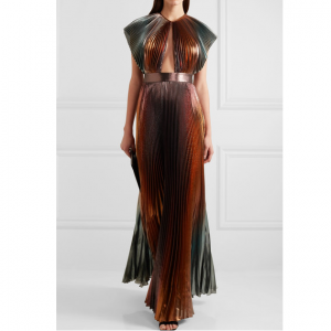 GIVENCHY Cutout pleated silk-blend lamé gown