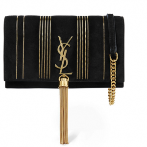 SAINT LAURENT Monogramme Kate small embellished suede shoulder bag