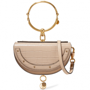 CHLOÉ Nile Bracelet mini croc-effect and textured-leather shoulder bag