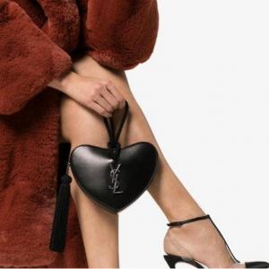 SAINT LAURENT black tassel detail heart shaped レザークラッチバッグ