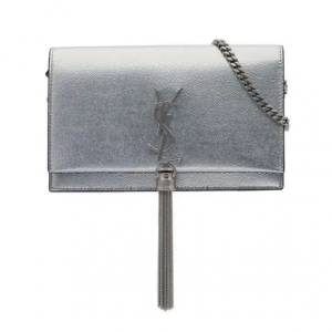 SAINT LAURENT metallic silver kate チェーンウォレットレザーバッグ