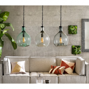 Wavy Hammered Hand Blown Glass Pendant Light, 1 Celling hanging Light, Green, 13