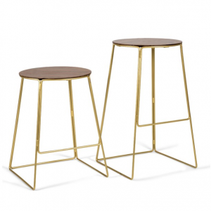 Edie Wood and Brass Bar Stool