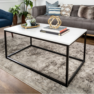 """42"""" Mixed Material Coffee Table, Marble"""