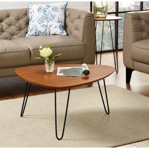 "32"" Hairpin Leg Wood Coffee Table, Walnut"