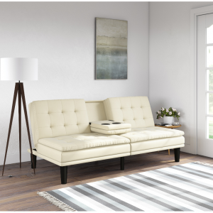 $189.99 Mainstays Memory Foam Faux Leather PillowTop Futon w/Cupholders, Vanilla @ Walmart
