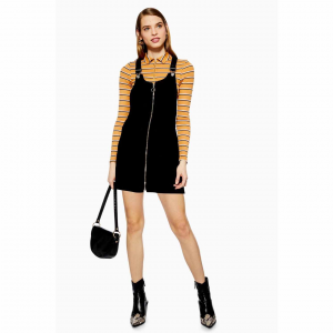 PETITE Zip Corduroy Pocket Pinafore Dress