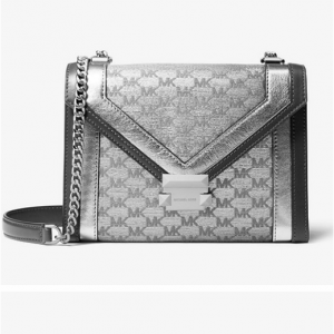 Whitney Large Metallic Logo Jacquard Convertible Shoulder Bag