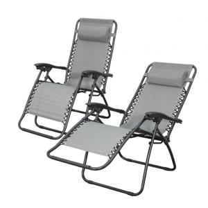2x Zero Gravity Lounge Outdoor Portable Textilene Recliner - Grey