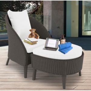 Redoda PE Wicker Outdoor Chair Stool Set - Ash