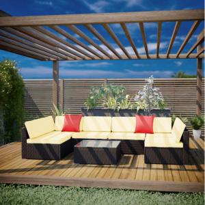 Guana 6 Seater Modular PE wicker Outdoor Sofa Set - Brown