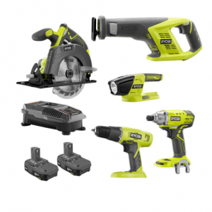 $149 Tool Ryobi 18V ONE+ Kit: Drill & Driver, Circular & Recip Saw w/ 2x Batteries @ Home Depot