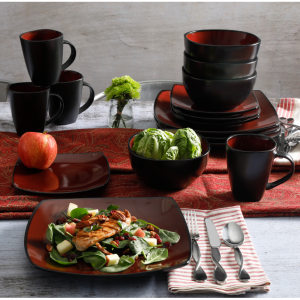 Gibson Home Soho Lounge Square Stoneware 16-piece Dinnerware Set Red