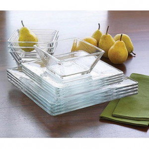 Mainstays 12-Piece Square Clear Glass Dinnerware Set Square