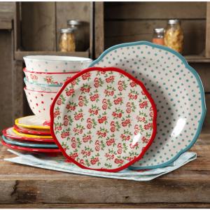 The Pioneer Woman Timeless Floral & Retro Dot 12-Piece Dinnerware Set