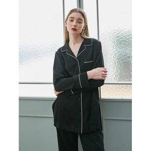 COLLABOTORY Classic Black Pajama Blouse