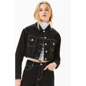 PacSun Black Vintage Cropped Trucker Jacket