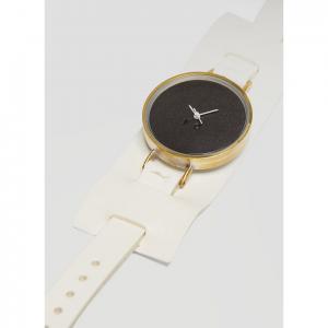 NEJICOMMU Wide Strap Combine Wrist Watch in White