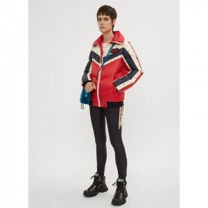 GUCCI Floral Stripe Puffer Jacket in Red