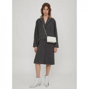 MIU MIU Houndstooth Single Breasted Coat in Grey