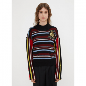 JW ANDERSON Deconstructed Logo Patch Stripe Jumper in Blue