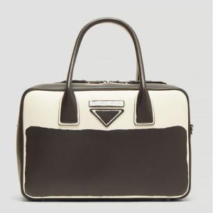 PRADA Mirage Medium Painted Leather Handbag in Black