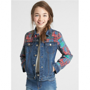 Gap Icon Plaid Patchwork Denim Jacket
