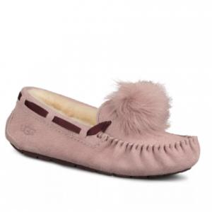 UGG® Women's Dakota Suede & Shearling Pom-Pom Slippers