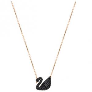 Iconic Swan Pendant, Black, Rose Gold Plating