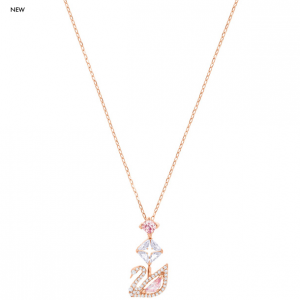 Dazzling Swan Y Necklace, Multi-colored, Rose Gold Plating