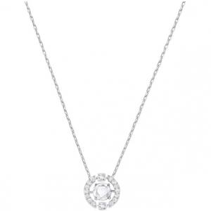 Sparkling Dance Round Necklace, White, Rhodium Plating