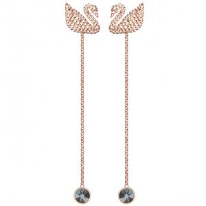 Iconic Swan Pierced Earrings, White, Rose Gold Plating