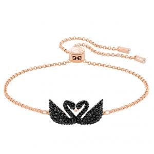 Iconic Swan Bracelet, Black, Rose Gold Plating