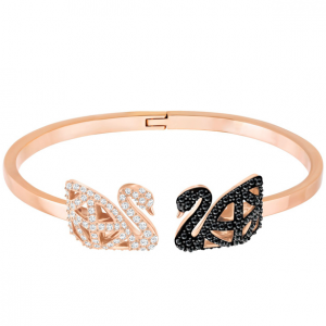 Facet Swan Bangle, Multi-colored, Mixed Plating