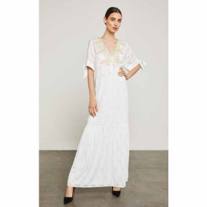 Alysa Embroidered Sleeve-Tie Maxi Dress